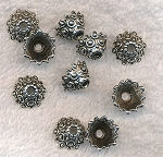 Fancy Cone Bead Caps 12x7mm Antique Silver (10)