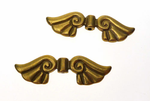 Antique Brass Large Angel Wings Bead 44x14mm