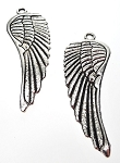 Large Angel Wing Pendants, 62x23mm Antique Silver (6)