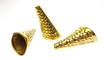 Tapered Large Jewelry Horn Findings with Woven Basket Design, Gold Finish (6)