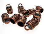 SOLDOUT - Copper Celtic Heart Patterned Jewelry End Caps with 8mm Opening (10)