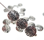 Fancy Swirly Patterned Coin Beads, 7mm Antique Silver (20)