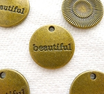 ZSOLDOUT / Brass Beautiful Charms, Antique Brass Pewter Beautiful Word Charm Medallions Bulk (10)