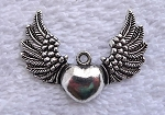 Angel Wing Heart Pendants, Antiqued Silver Sufi Heart with Wngs Pendants, Bulk (10)