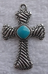 SOLDOUT - Antique Silver Cross Pendant with Turquoise Enameled Center, 22x33mm