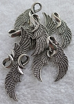 Tibetan Silver Angel Wing Pendants, Antique Silver Pewter Angel Wing Pendants, Bulk (10)