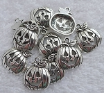 Halloween Pumpkin Charms, Antique Silver (10)