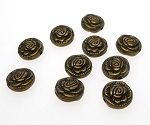 10mm Rose Beads, Antique Brass, Bulk (10)