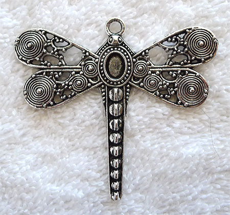 SOLDOUT - Antique Silver Pewter Large Ornate Dragonfly Pendant, 53x59mm