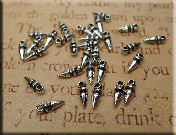 Silver Pewter Dagg Drop Jewelry Findings 8x3mm 20 per bag