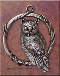 Large Ringed Owl Pendant, 46x36mm Owl Jewelry