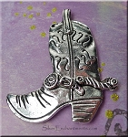 Large Cowboy Boot Pendant, Bailed