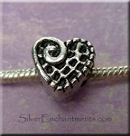 Fancy Heart Large Hole Bead