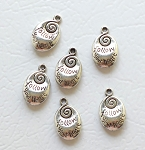Silver Pewter Follow Your Heart Charms with Spiral 20x13mm Double Sided 6 per bag