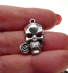 Antique Silver Skull Rose Charm Pendant 24x17mm