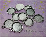 Round Bezel Pendants, Antique Silver Rope-edge (10)