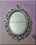 Silver Pewter Fancy Oval Bezel Pendants with Scroll Edge 6 per bag
