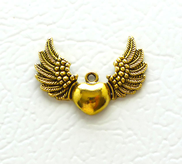 Winged heart pendant angel wing heart pendant antique gold finish aloadofball Gallery