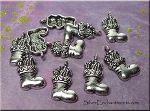 Silver Christmas Stocking Charms, Antique Silver Pewter Christmas Boot Charms, Bulk (10)