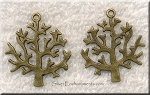 Antique Bronze Tree Pendant, 32x27mm | Both Sides Shown