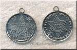 Tetragrammaton Pendant with Star of David, Antique Silver