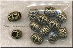 Bronze Large Hole Beads with Flower Motif, Big Hole Flower Beads (10)