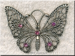 Butterfly Pendant with Pink Crystals