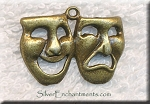 Brass Comedy-Tragedy Pendant, Theatre Mask Jewelry