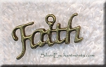 Brass Faith Charm, Antique Brass Pewter Faith Word Message Charm
