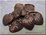 Copper Fancy Heart Charms (10)