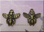 Brass Bee Charm, Antique Brass Pewter Bee Charms (1), 17x18mm