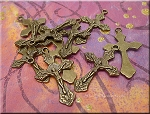 Bronze Crucifix Pendants, Ornate Catholic Cross Pendants (10)