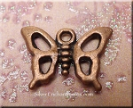 Antique Copper Pewter Butterfly Charm, 12x16mm