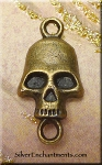 Skull Jewelry Finding, Antique Brass