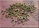 Bronze Pewter Hope Charms 14x26mm 10 per bag