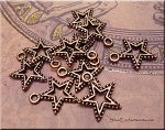Star Charms with Dotted Rim (10)