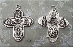 Saints Cross Necklace, Double Sided Everyday Silver Religious Jewelry