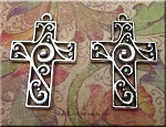 SOLDOUT - Double-Sided Scroll Cross Pendant, 29x20mm