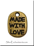 SOLDOUT - Brass Made with Love Jewelry Tags, Antique Brass, Bulk (20)