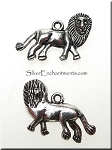Pewter Double-Sided Lion Charm Antique Silver Finish