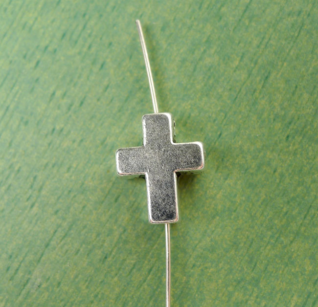 Silver Pewter Cross Beads 15x12mm with 2.5mm Hole 10 per bag