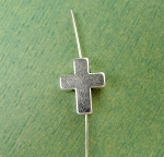 Cross Beads with 2.5mm Hole, Antiqued Silver (10)