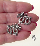 Dragon Charms, Antique Silver Double Sided (10)