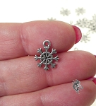 Wholesale Delicate Snowflake Charms, 13x11mm, Bulk (10)