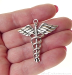 Large Caduceus Pendants, 40mm, Antiqued Silver, Bulk (6)