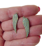 Wholesale Angel Wing Charms, Antiqued Brass with Verdigris Patina Angel Wing Charms, Bulk (15)