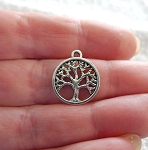 Tree of Life Charms, Antique Silver 15mm (20)