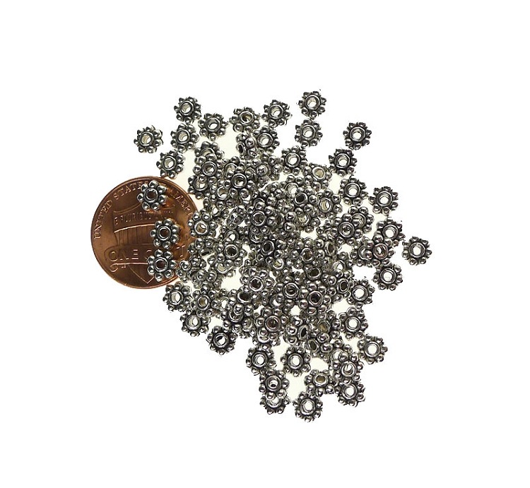 5mm Daisy Spacers, Antique Silver (100)