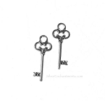 Silver Pewter Key Charms 21x4mm 20 per bag