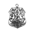 Large Hindu, Yoga, Meditation Pendants, Antique Silver (5)